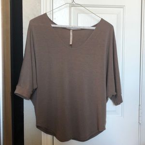 Brown short sleeve, loose fitting blouse